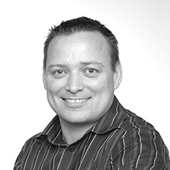 black and white headshot of a man